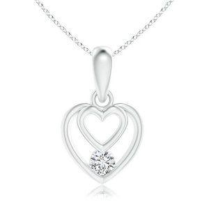 Heart Shape Round Diamond Pendant Necklace 1.00 Ct